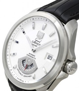 TAG Heuer Grand Carrera viewed at an angle.