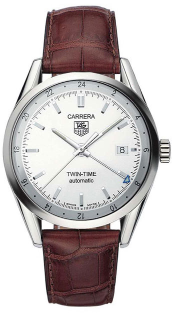 The Carrera Twin Time with white dial and brown leather strap.