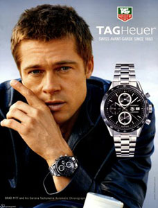 Brad Pitt and hisTAG Heuer Carrera with Tachymeter
