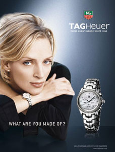 TAG Heuer Women's CJF1314.BA0580 Diamond Chronograph Watch on Uma Thurman