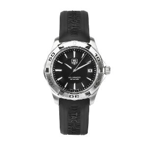 Tag Heuer Aquaracer Men's Black Dial Watch WAP1110.FT029 with black rubber straps, stainless steel case/bezel