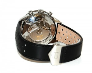 Back view of the Tag Heuer Carrera with perforated leather strap visible.